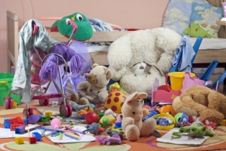 Messy kids room with toys