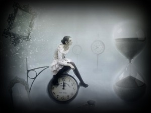 donna clessidra tempo specchio orologio a