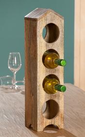 Gilde Flaschenständer Holz Haus 55 cm natur