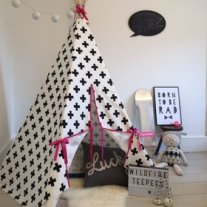 Wildfire Teepee - Monochrome Cross with Pink Trim